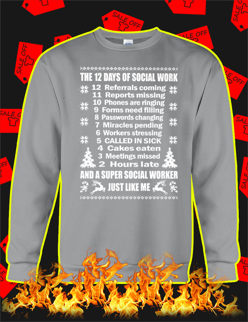 The 12 Days Of Social Work Christmas Jumper-grey