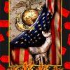 US Marine Corps Camo American Flag Blanket