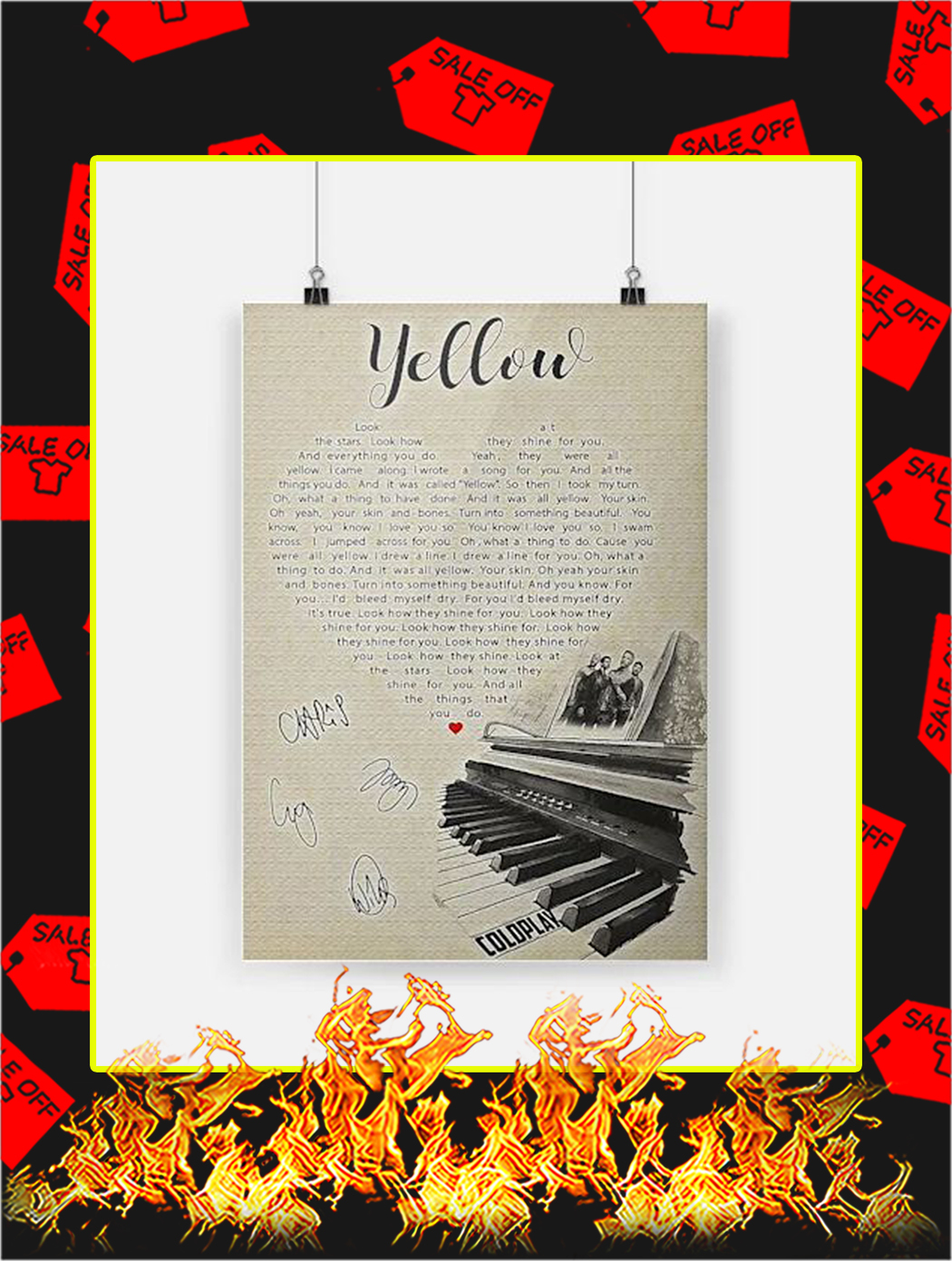 Yellow Coldplay Signature Poster - A4