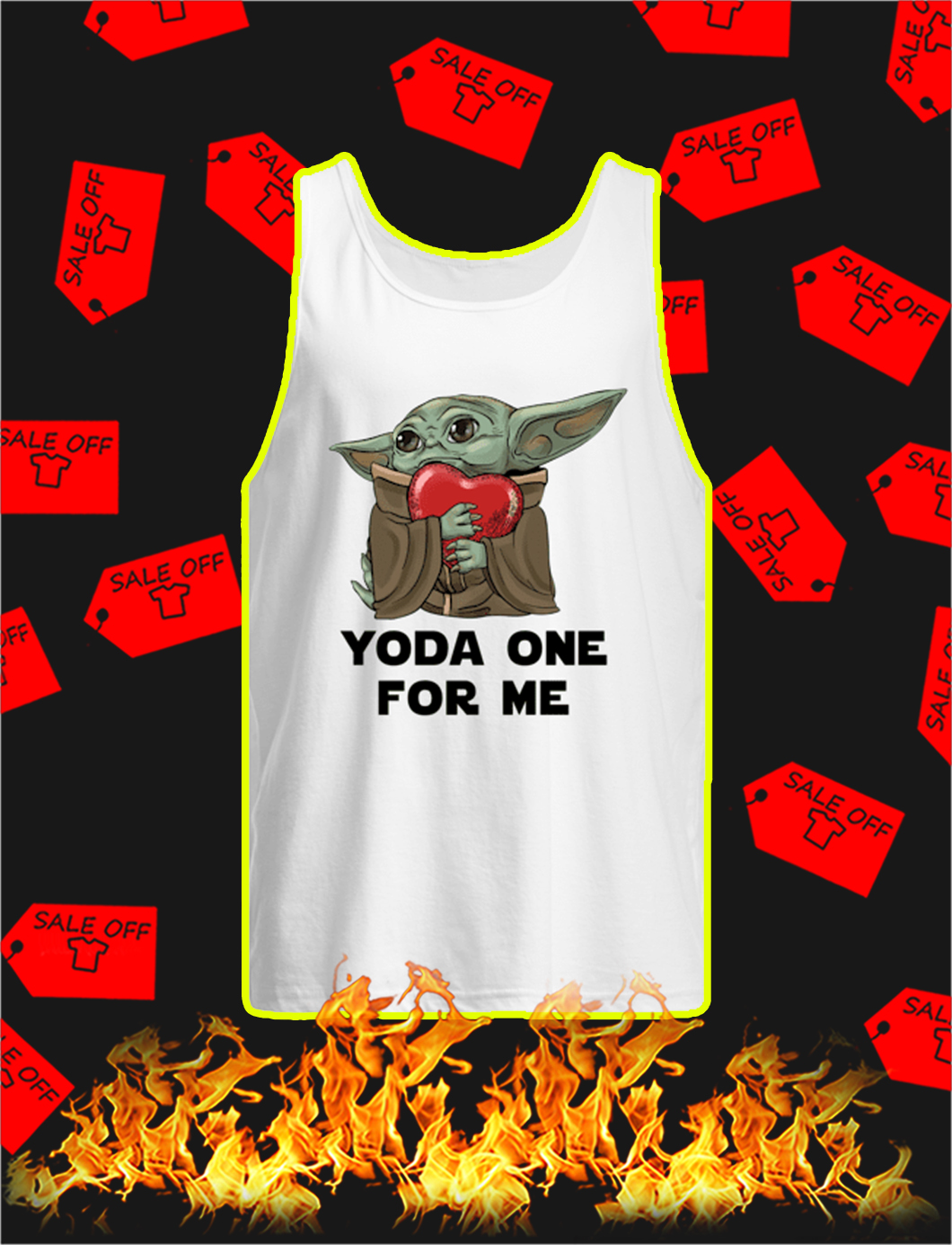 Yoda One For Me Heart tank top