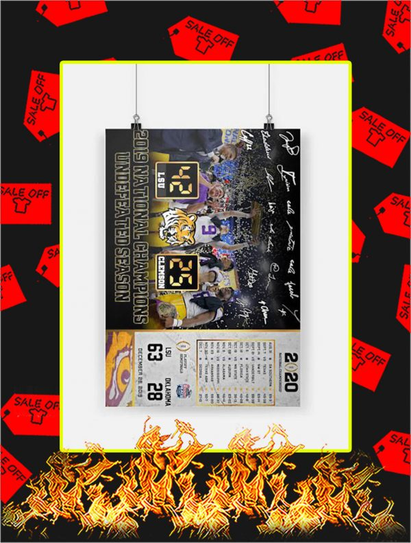 2019 National Champions Undefeated Season LSU Poster