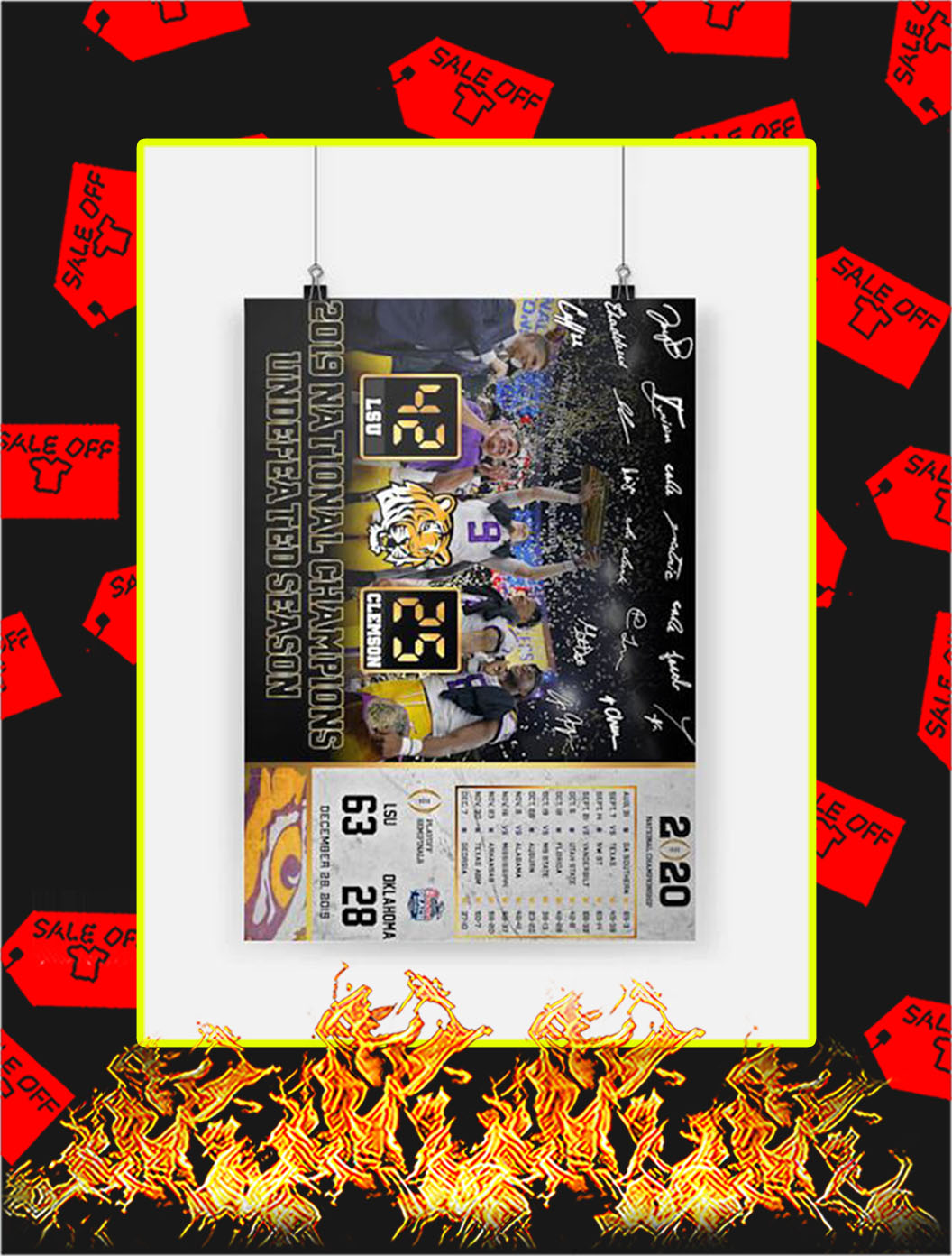 2019 National Champions Undefeated Season LSU Poster - A2