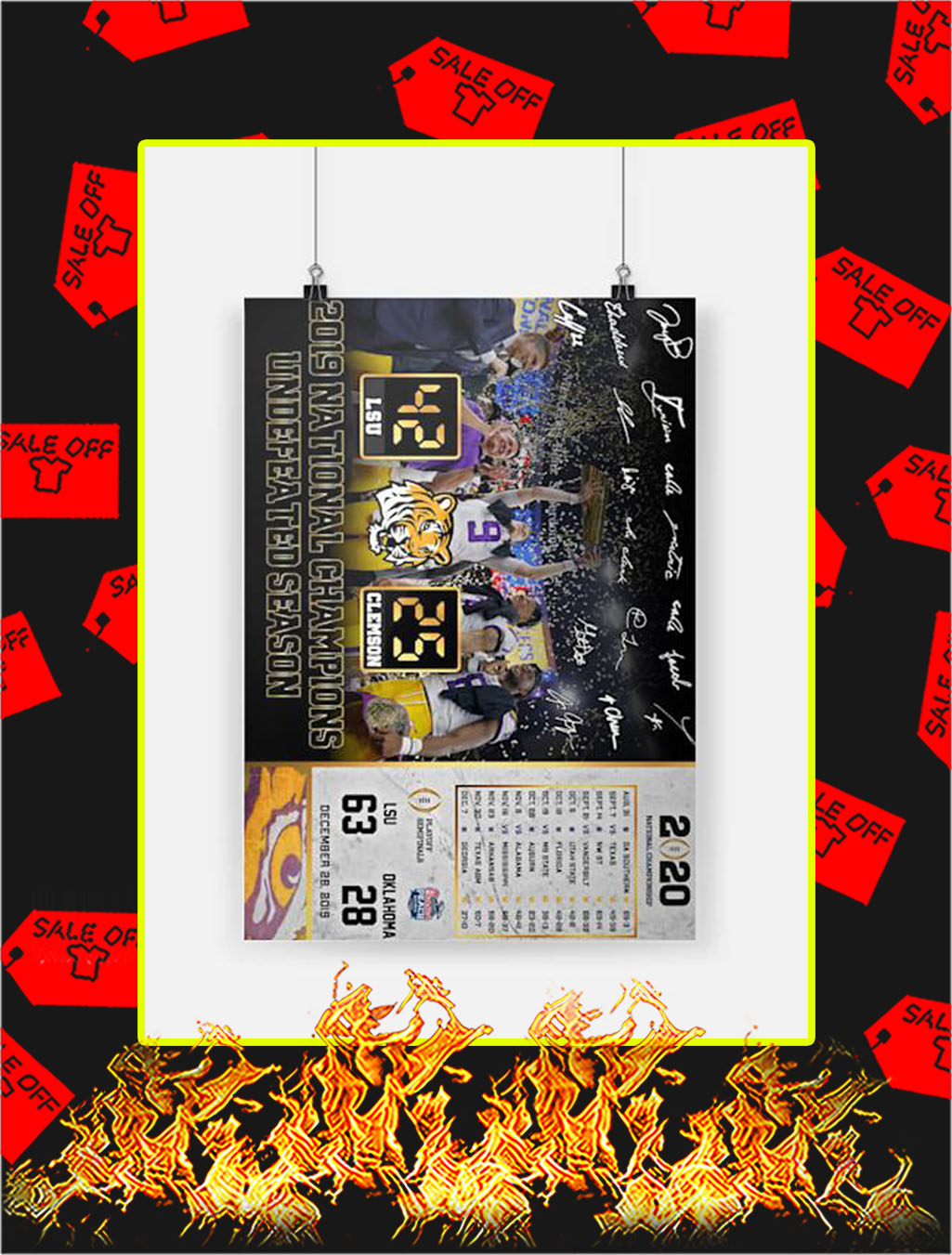 2019 National Champions Undefeated Season LSU Poster - A4