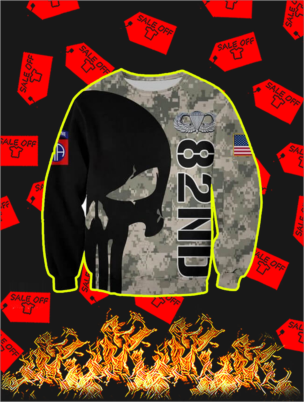 3D Printed 82nd Punisher Skull Sweatshirt