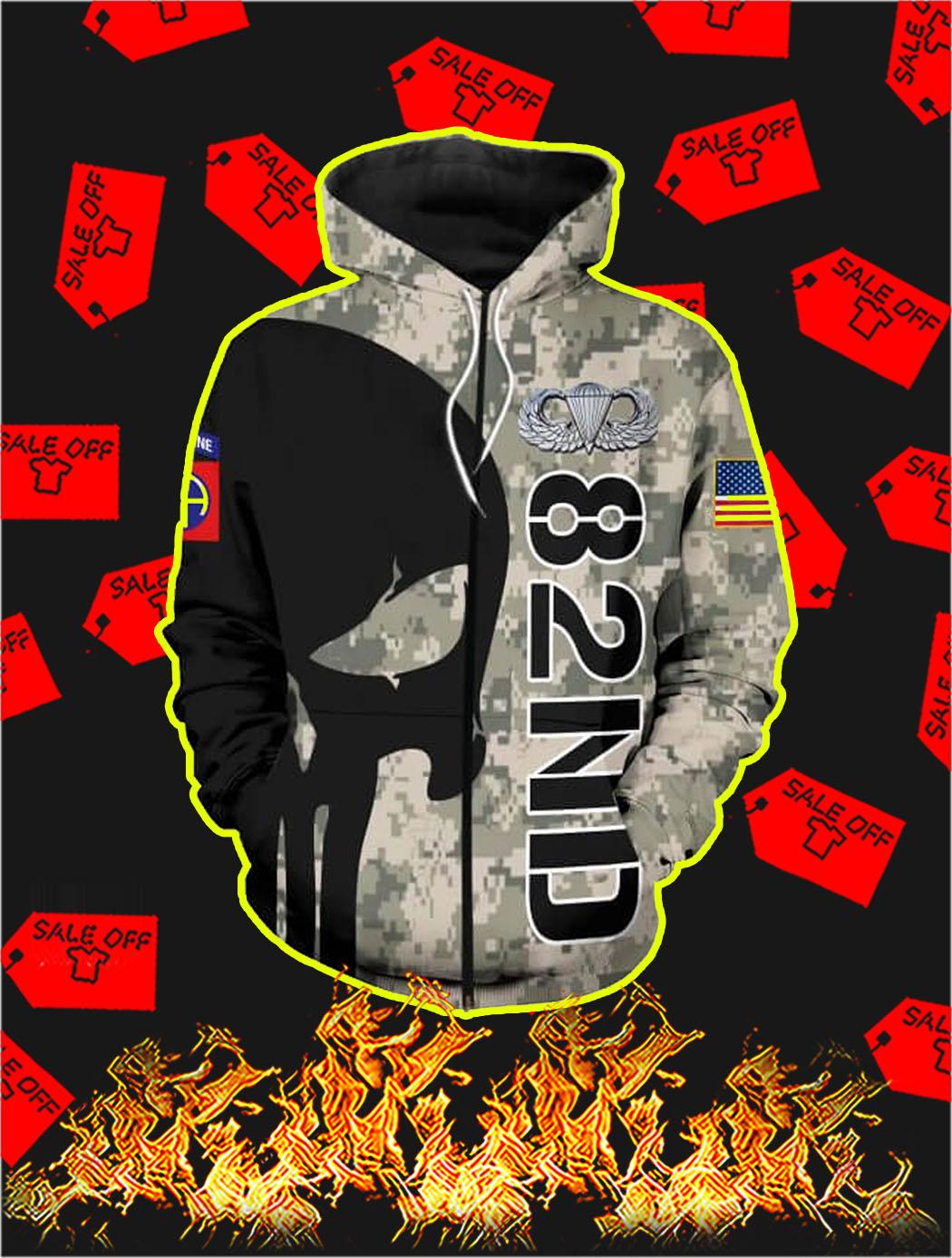 3D Printed 82nd Punisher Skull Zip Hoodie