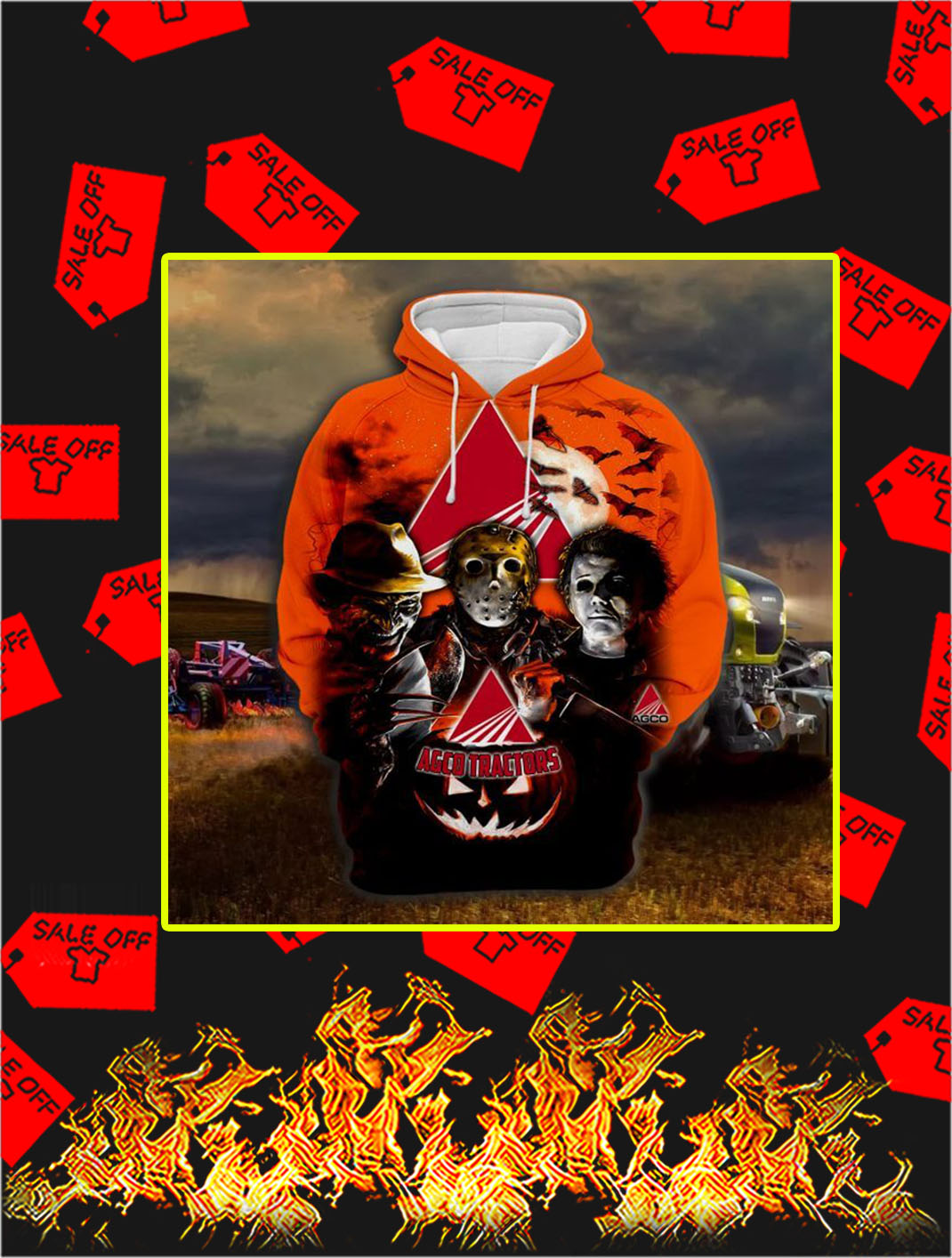 3D Printed AGCO Tractors Horror Halloween Hoodie- picture 1