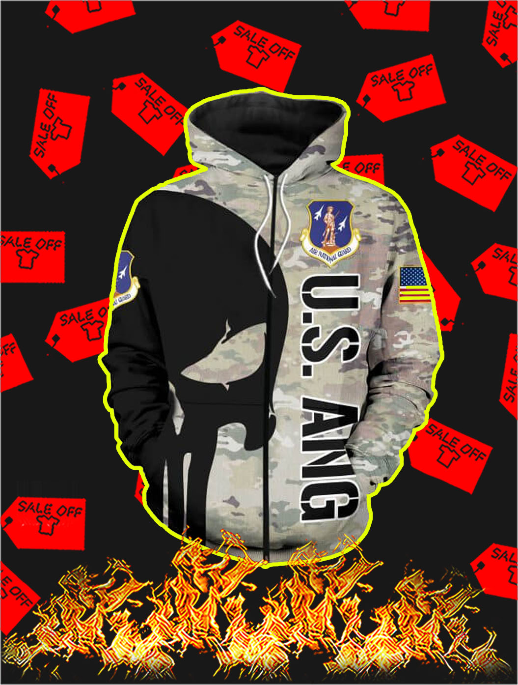 3D Printed Air National Guard Punisher Skull Zip Hoodie