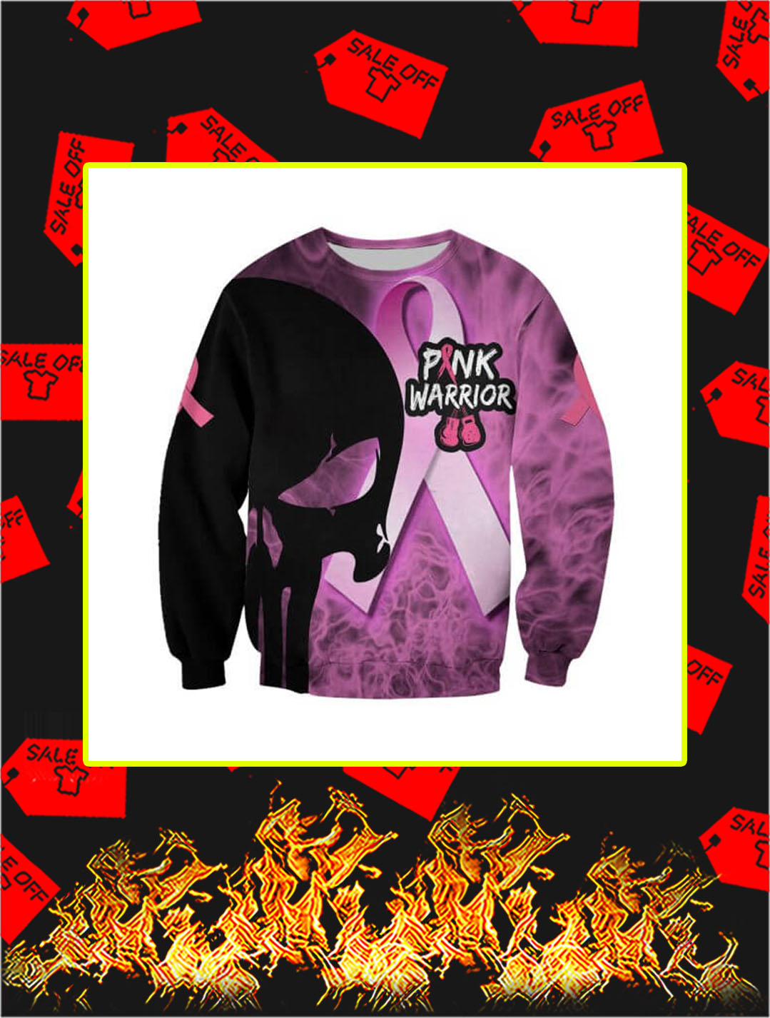 3D Printed Cancer Pink Warrior Punisher Skull Sweatshirt