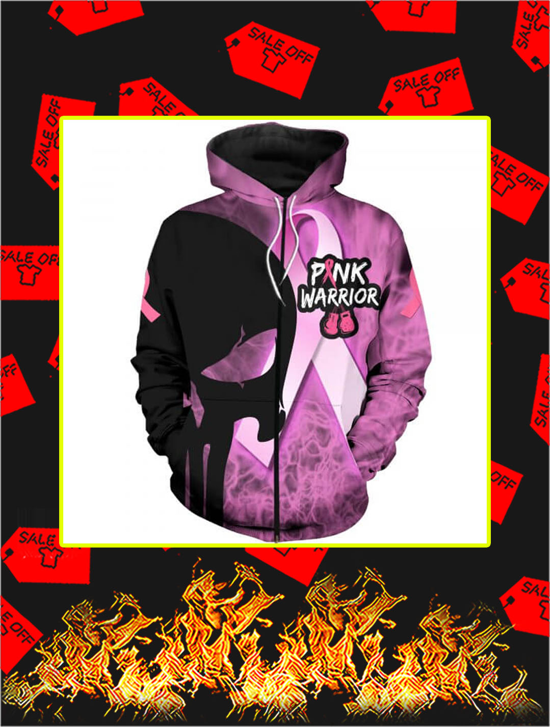 3D Printed Cancer Pink Warrior Punisher Skull Zip Hoodie