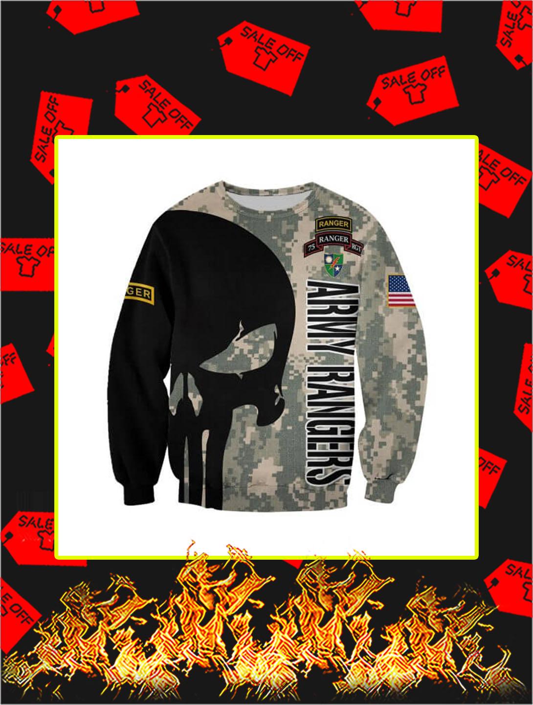 3D Printed US Army Rangers Punisher Skull Sweatshirt