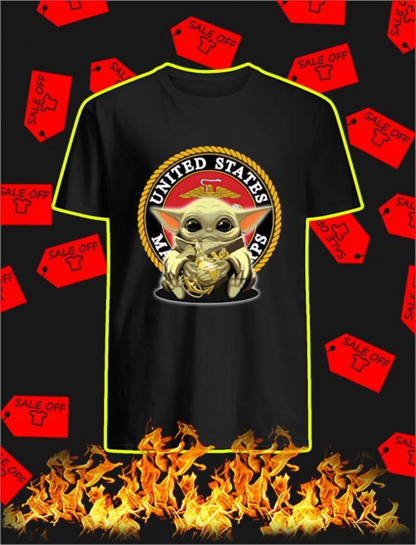 Baby Yoda Hug US Marine Corps shirt