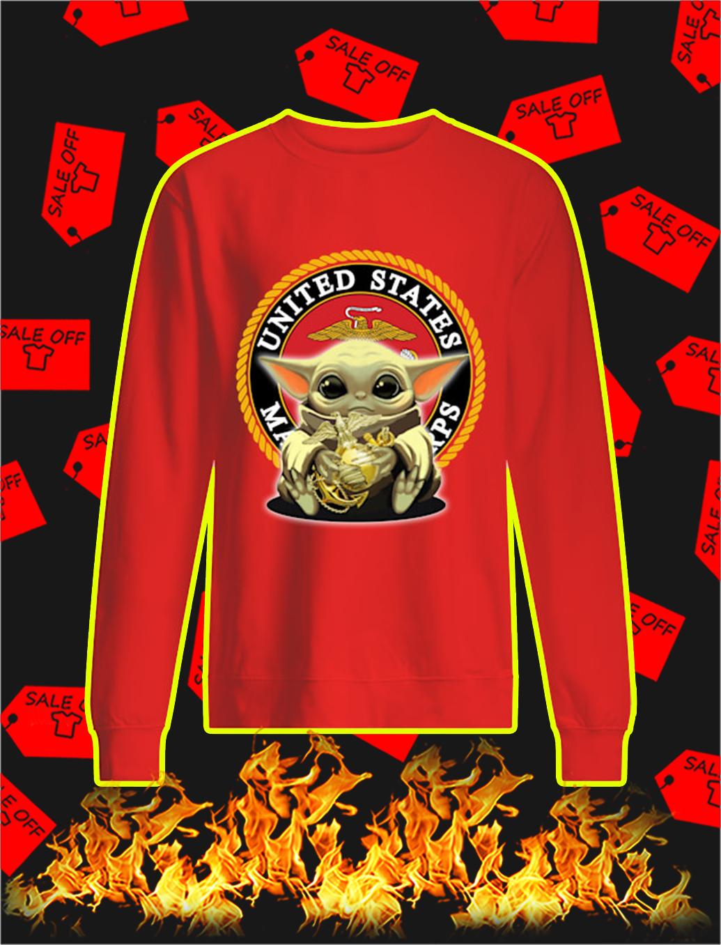 Baby Yoda Hug US Marine Corps sweatshirt