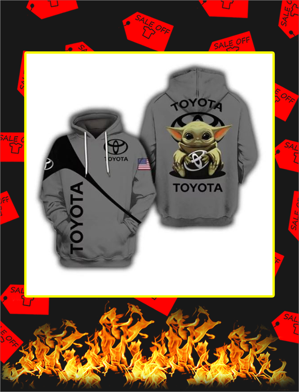 Baby Yoda toyota 3d hoodie - S