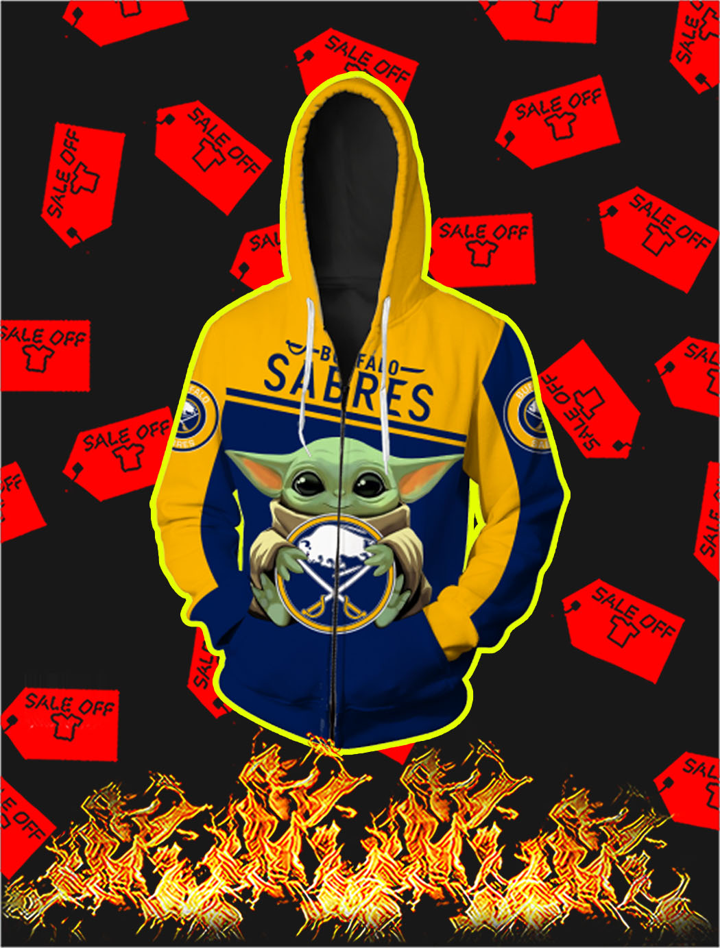 Buffalo Sabres Baby Yoda Full All Over Print Zip Hoodie