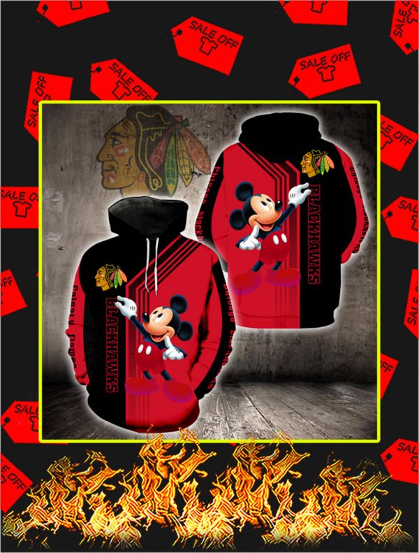 Chicago Blackhawks Mickey Mouse Full All Over Print Hoodie