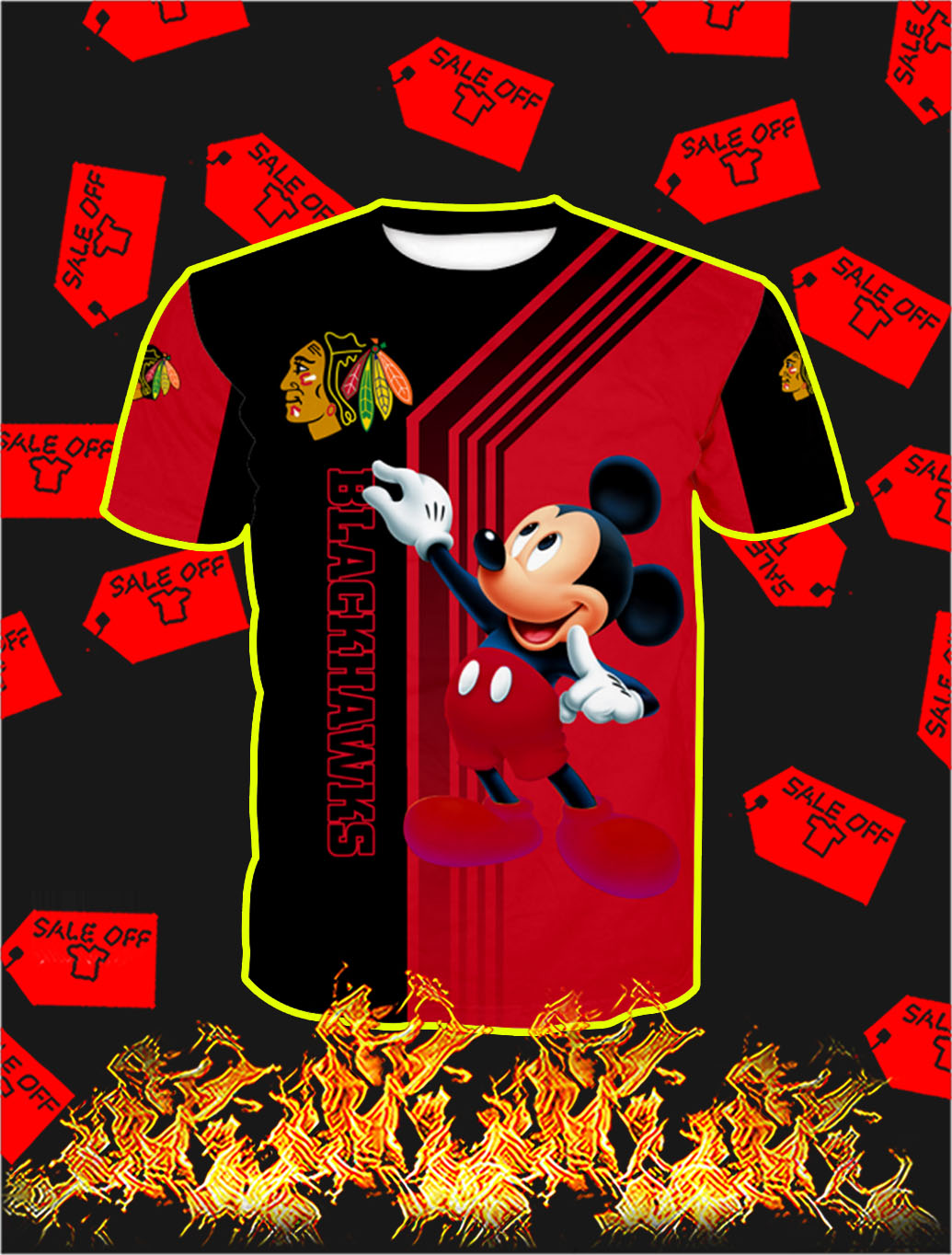 Chicago Blackhawks Mickey Mouse Full All Over Print T- shirt