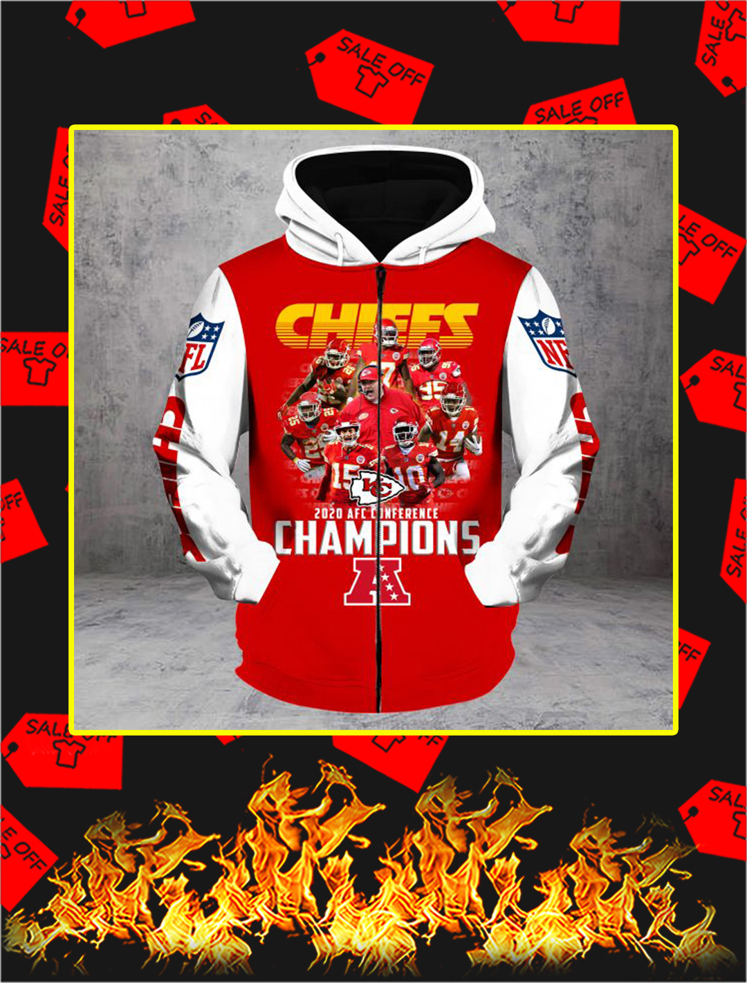 Chiefs 2020 AFC Conference Champions Full Printing Zip Hoodie