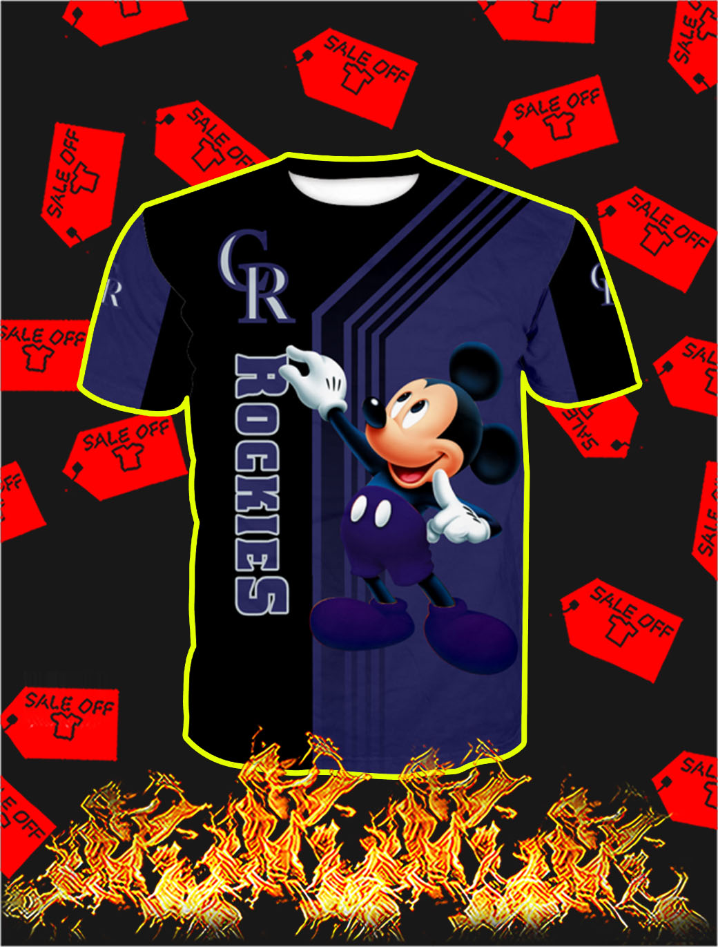 Colorado Rockies Mickey Mouse Full All Over Print T-shirt