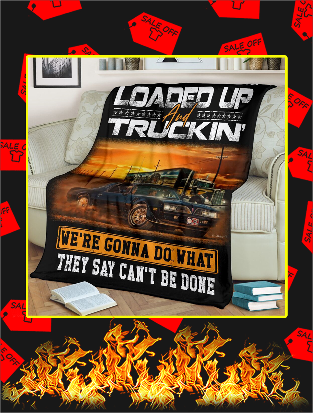 East Bound And Down Loaded Up And Truckin Blanket- x large