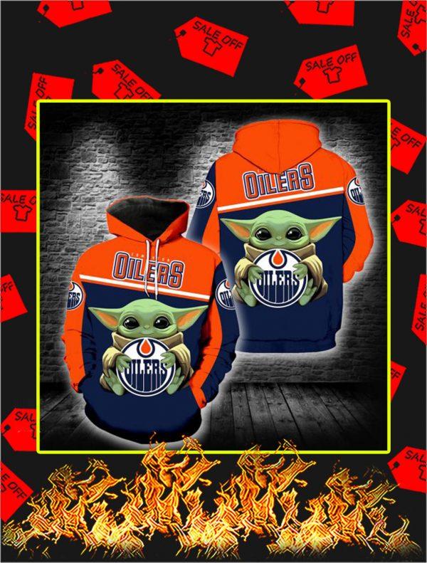 Edmonton Oilers Baby Yoda Full All Over Print Hoodie