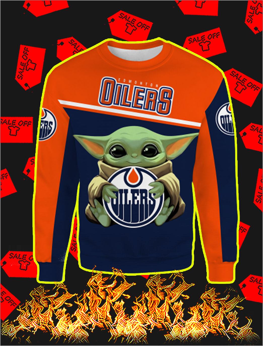 Edmonton Oilers Baby Yoda Full All Over Print Sweatshirt