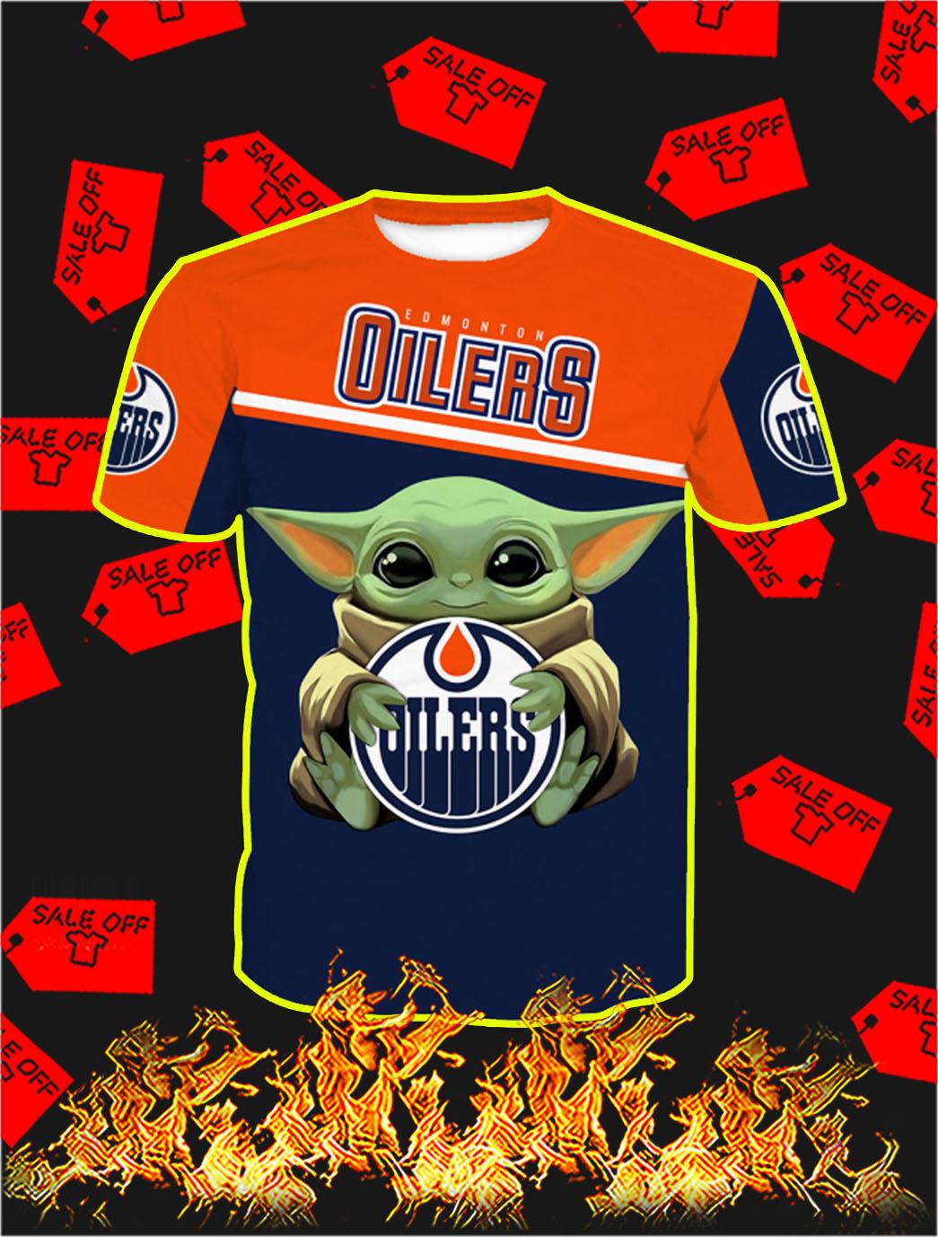 Edmonton Oilers Baby Yoda Full All Over Print T- shirt