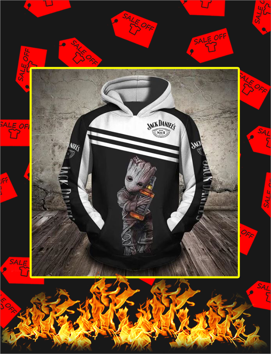 Groot Jack Daniels 3d hoodie - L