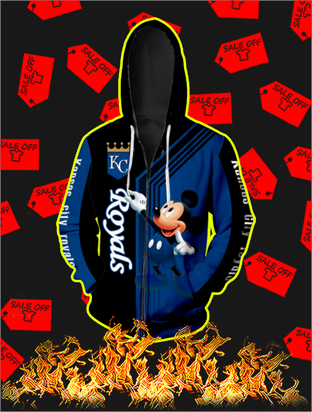Kansas City Royals Mickey Mouse Full All Over Print Zip Hoodie