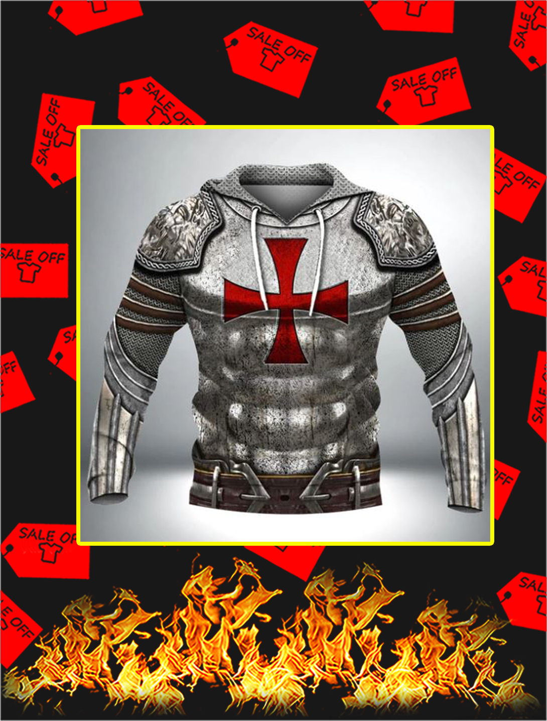 Knight Templar 3D Full Printing Hoodie- front