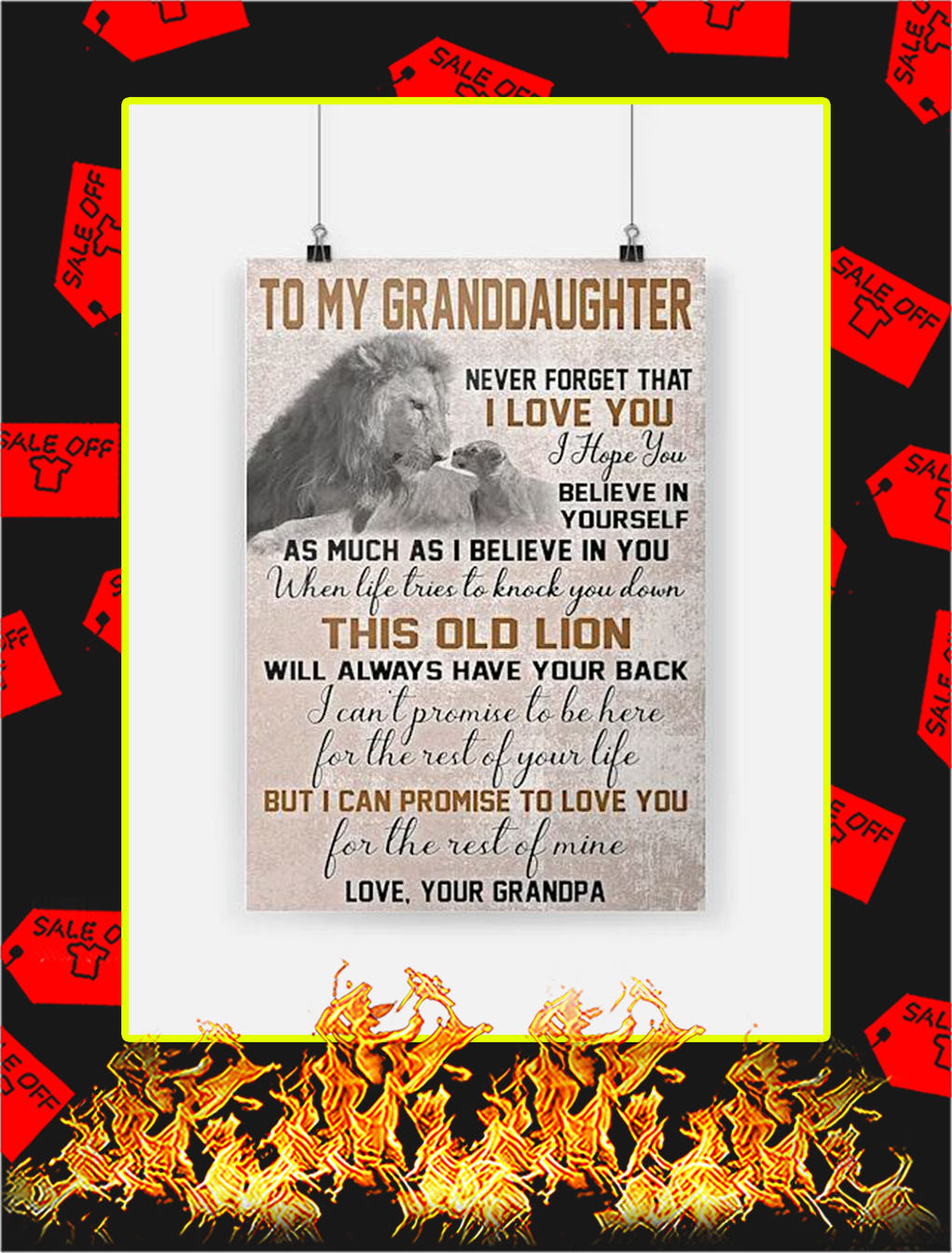 Lion To My Granddaughter Poster - A4