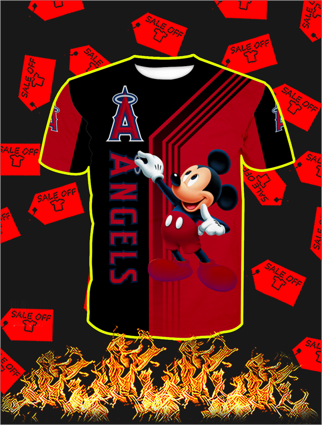 Los Angeles Angels Mickey Mouse Full All Over Print T-shirt