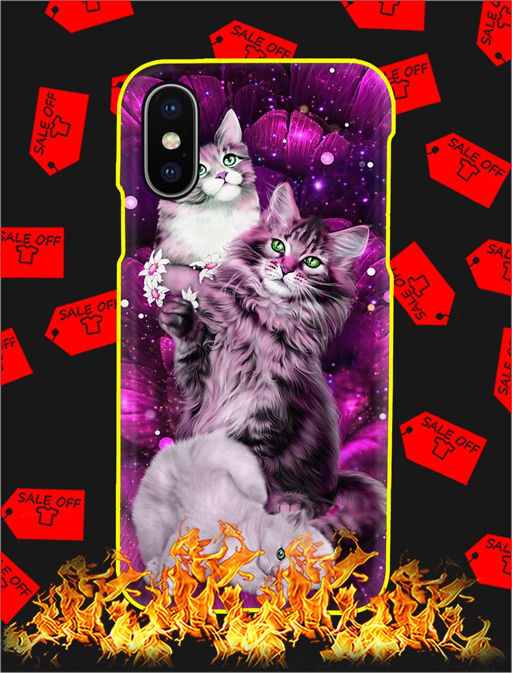 Magic Galaxy Rose Cat Phone Case- iphone XS