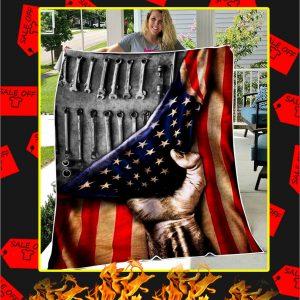 Mechanic American Flag Blanket