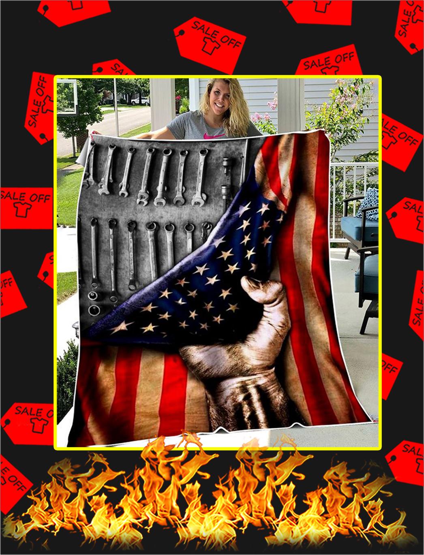 Mechanic American Flag Blanket - large