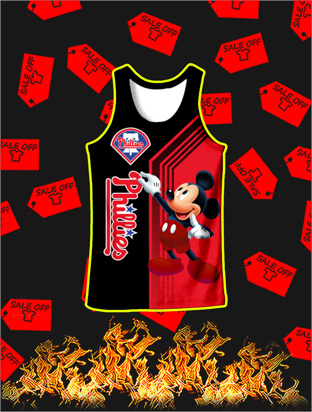 Philadelphia Phillies Mickey Mouse Full All Over Print Tank top