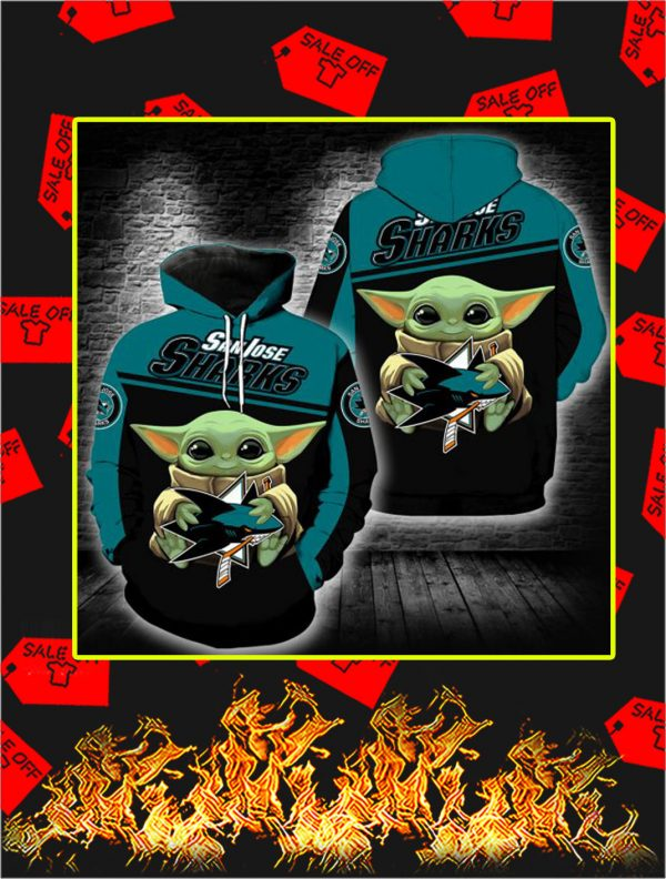 San Jose Sharks Baby Yoda Full All Over Print Hoodie
