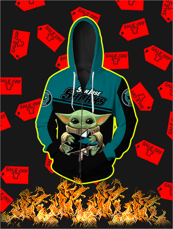 San Jose Sharks Baby Yoda Full All Over Print Zip Hoodie