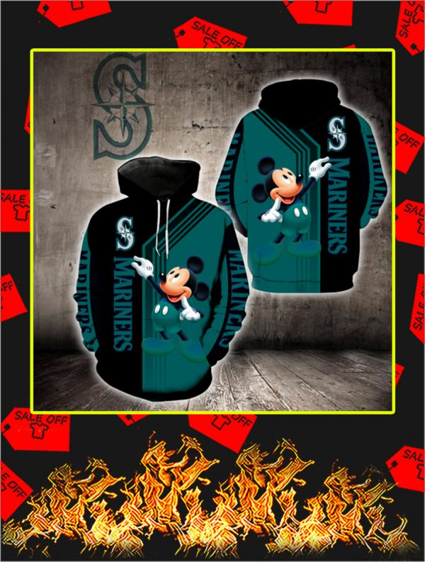Seattle Mariners Mickey Mouse Full All Over Print Hoodie