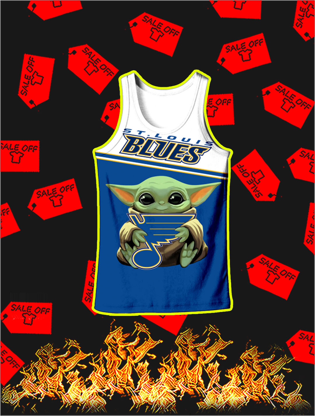 St Louis Blues Baby Yoda Full All Over Print Tank top