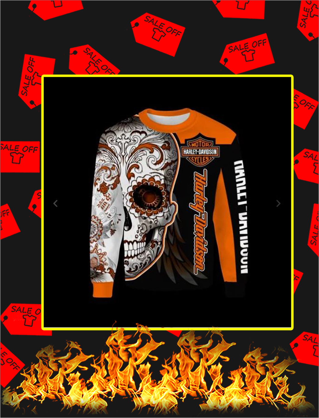 Sugar Skull Harley-Davidson all over print sweatshirt