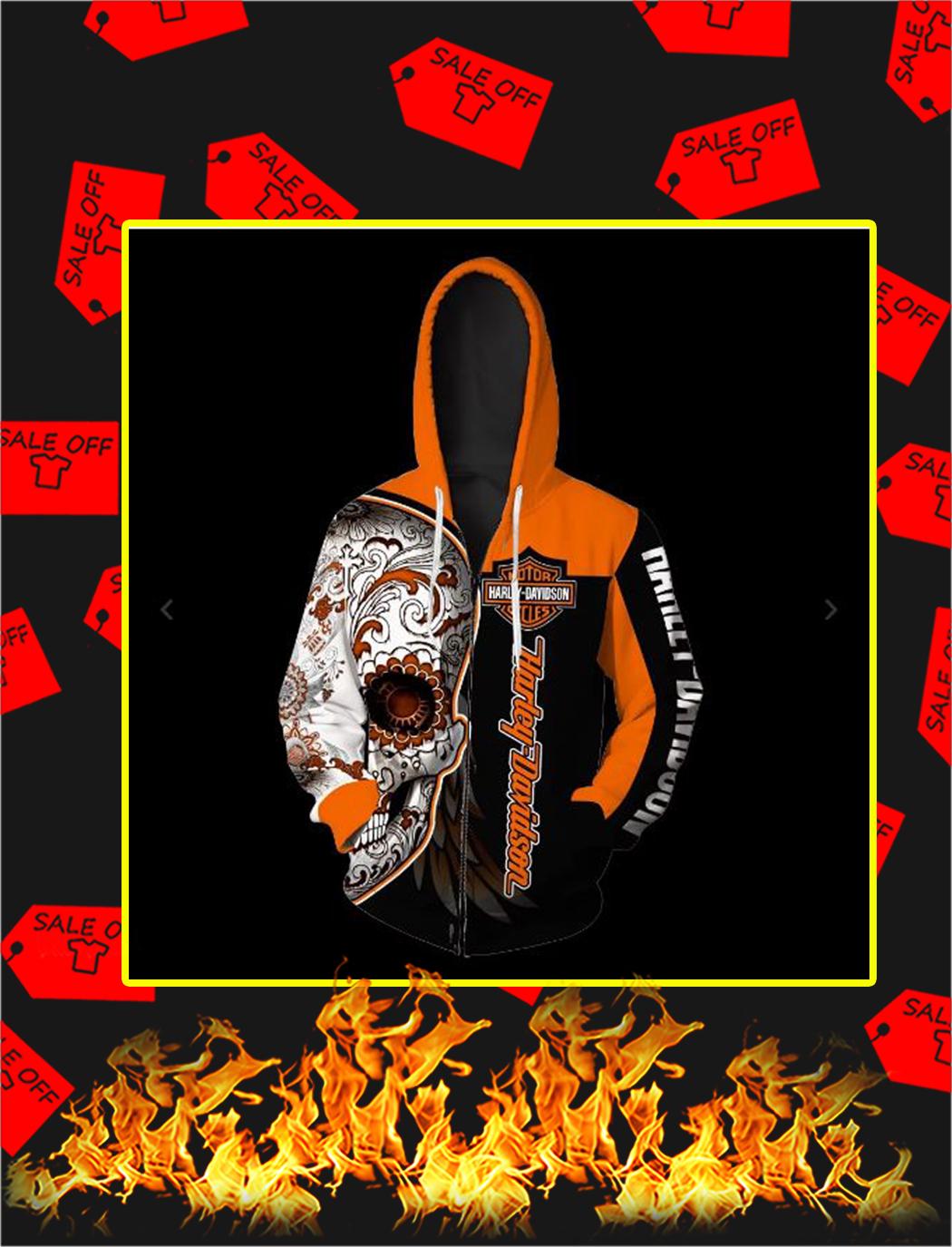 Sugar Skull Harley-Davidson all over print zip hoodie