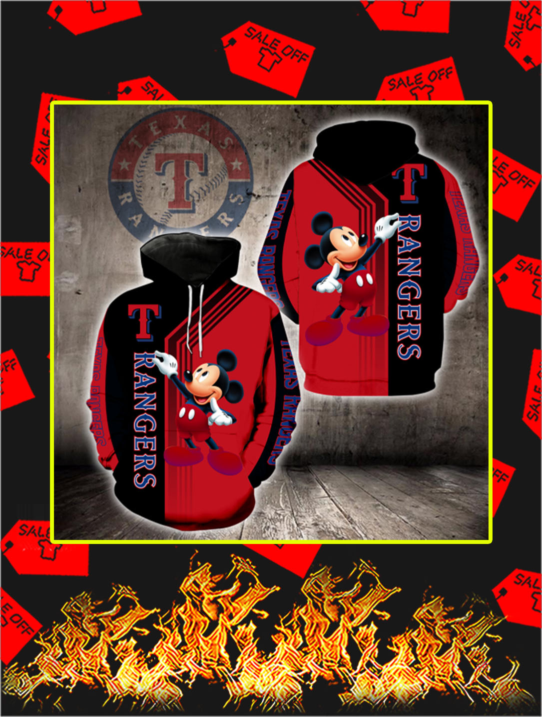 Texas Rangers Mickey Mouse Full All Over Print HoodieTexas Rangers Mickey Mouse Full All Over Print Hoodie
