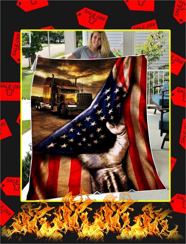 Trucker American Flag Blanket