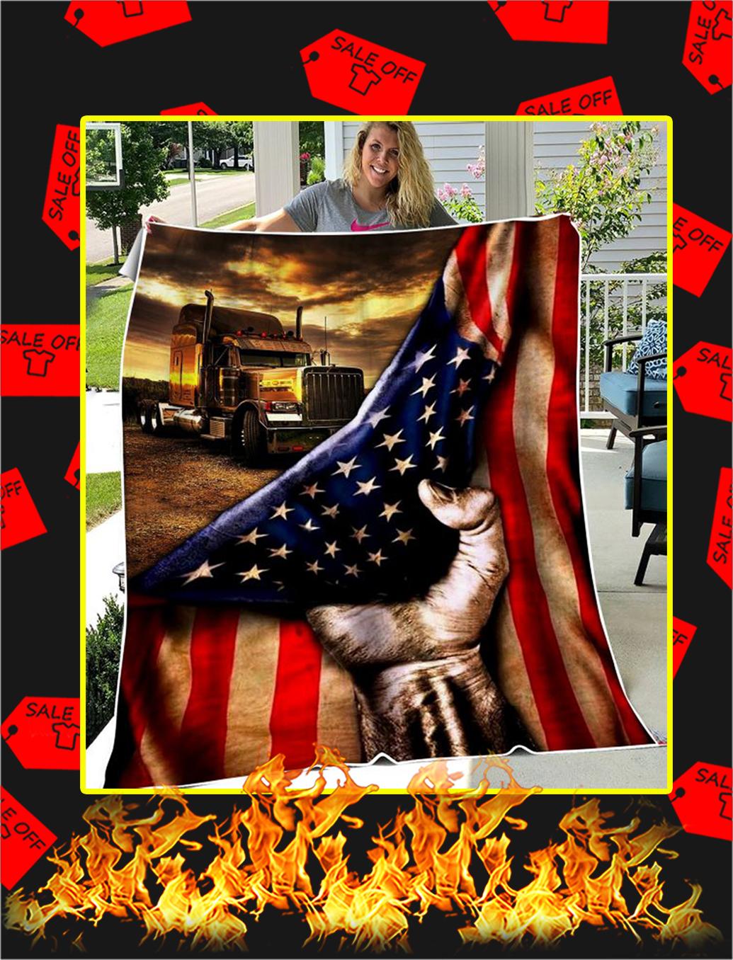Trucker American Flag Blanket - youth