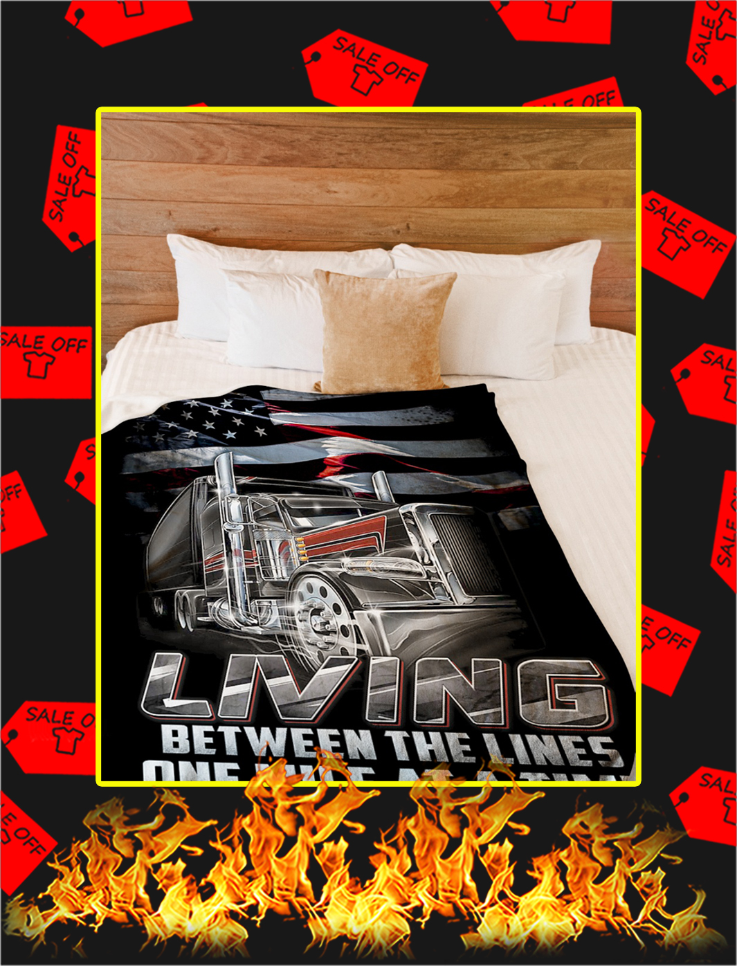 Trucker living between the lines one mile at a time blanket- large