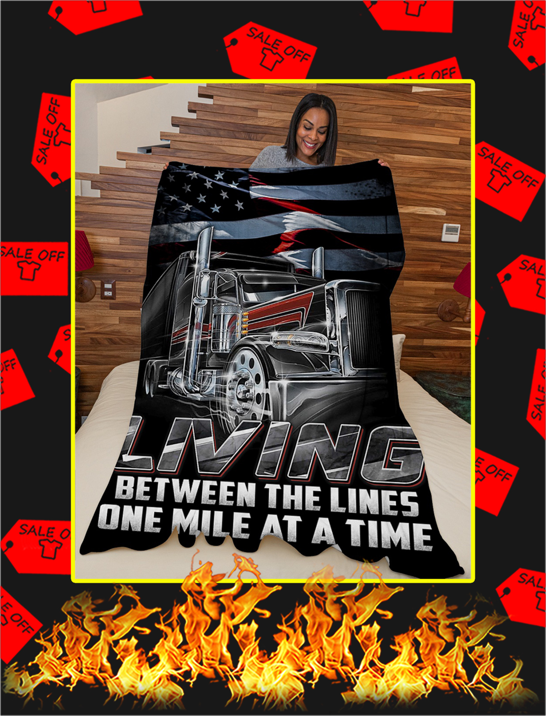 Trucker living between the lines one mile at a time blanket- x large