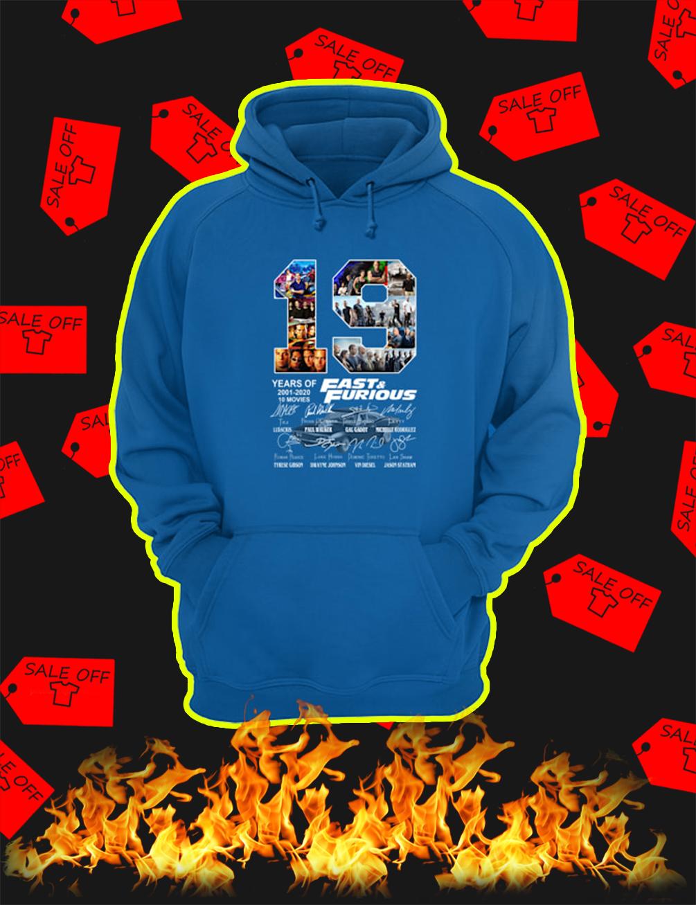 19 Years Of Fast & Furious 2001 2020 hoodie