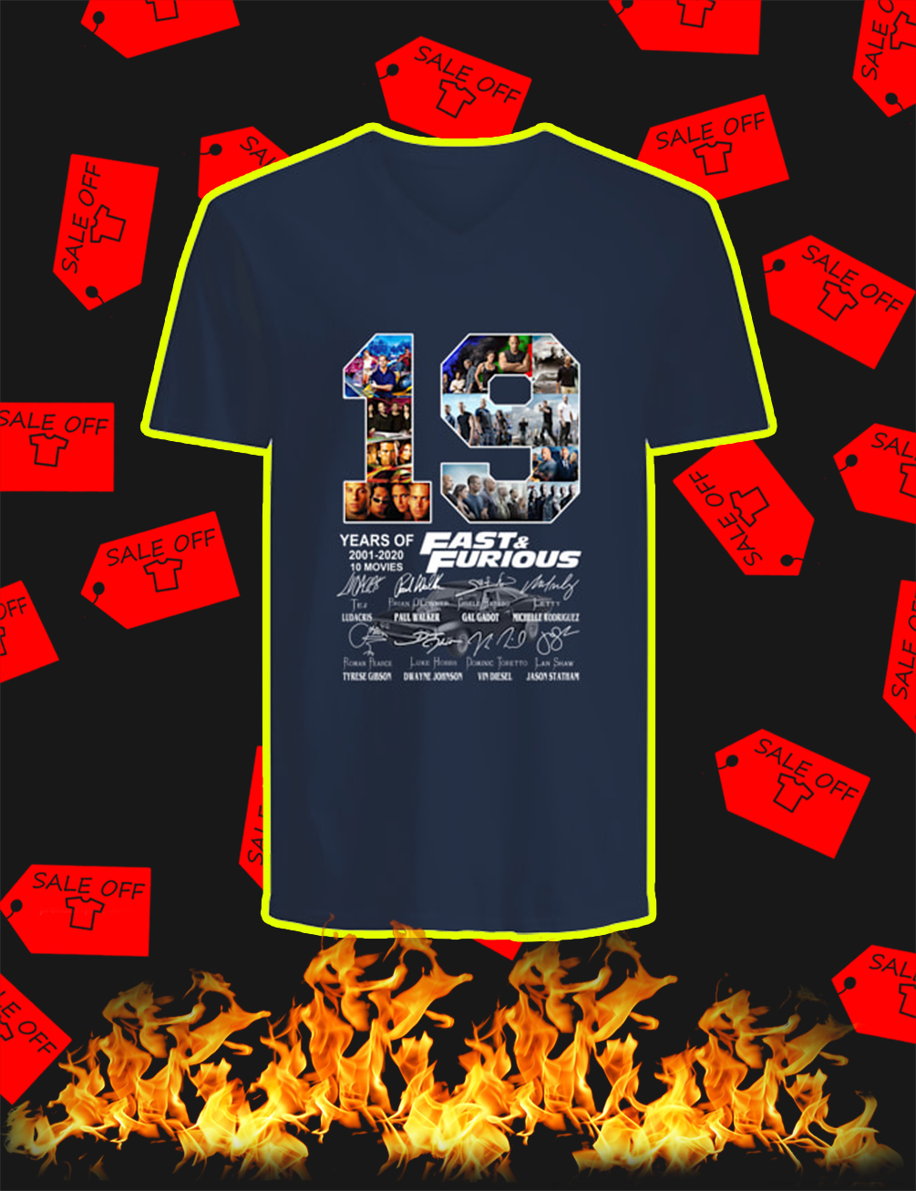 19 Years Of Fast & Furious 2001 2020 v-neck