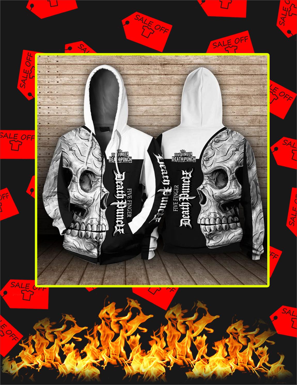 Five Finger Death Punch Skull 3D Zip Hoodie