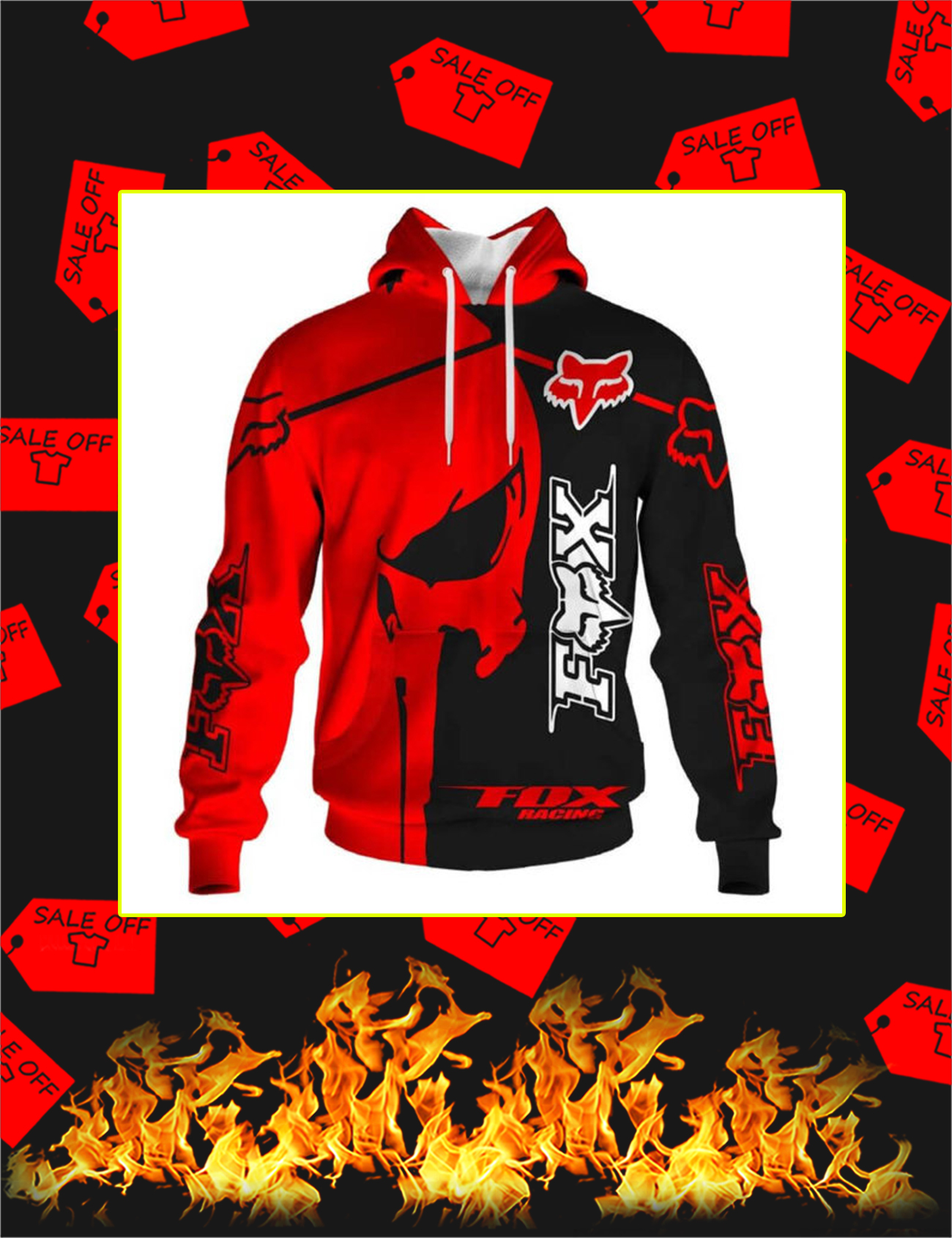 Fox Racing Red Punisher Skull 3D Hoodie